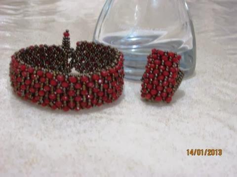 Kırmızı kristal taşlı bileklik ve yüzük