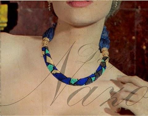 Crochet Bead Rope Necklace - Eternal Dark Blue Necklace - Beaded Crochet Rope With Dark Blue Scarf