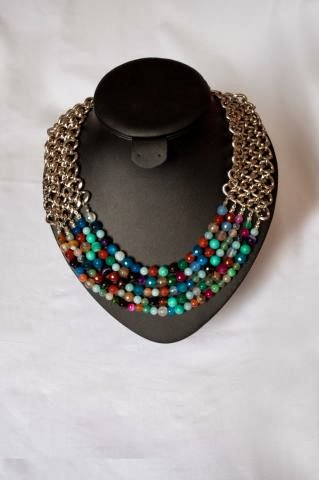 Necklace with Natural Stone Beads on Silver Color Chain