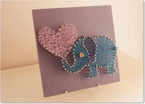 Elephant Modern String Art