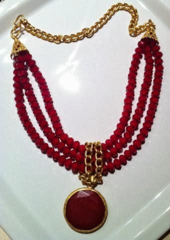 Kırmızı kristal taşlı kolye
