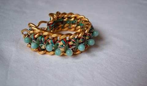 Chain Bracelet with Amazon Beads