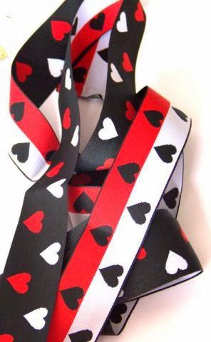 White Reversible Hearts Grosgrain Ribbon