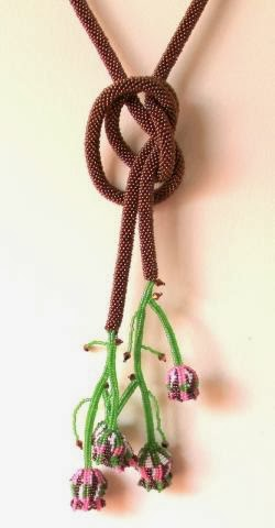 Brown Flower Beaded Necklace