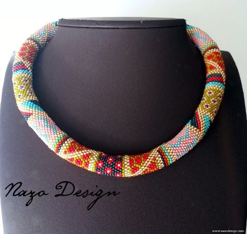 Geometric Patchwork Beaded Crochet Necklace
