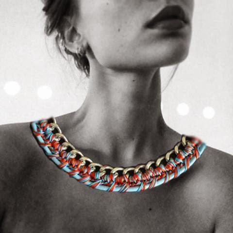 Modern crochet necklace